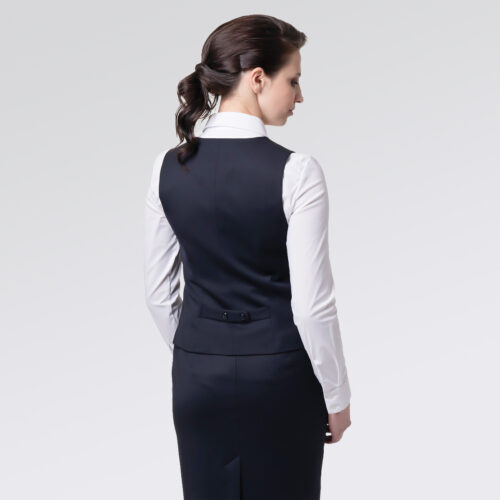 Chaleco ejecutivo azul para mujer, vista espalda